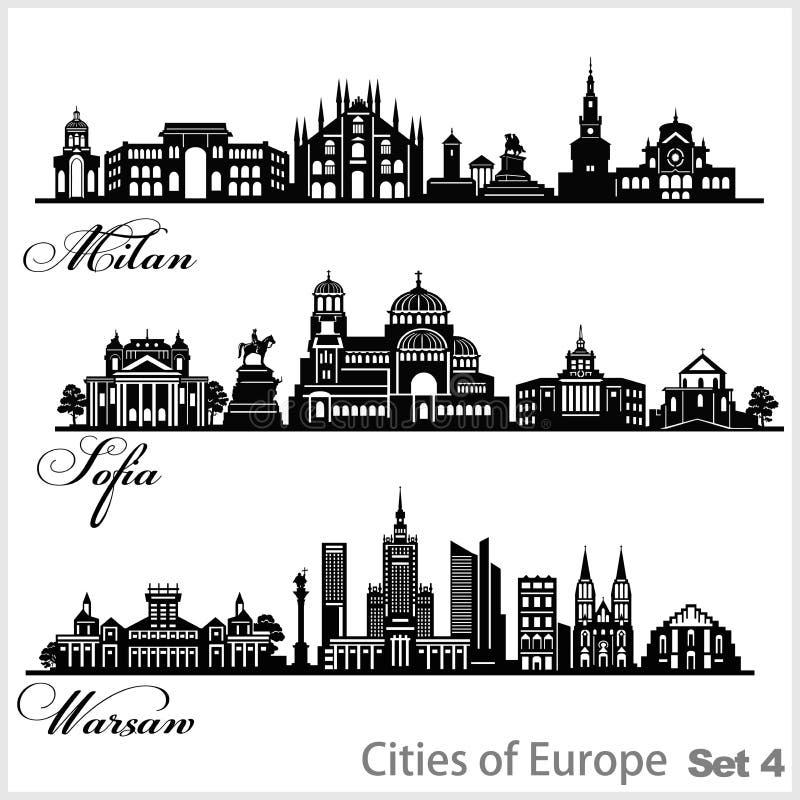 Stadt in Europa - Sofia, Mailand, Warschau Detaillierte Architektur Trendvektor-Illustration stock abbildung