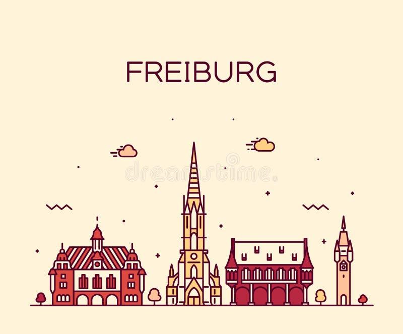 Stadt Freiburgs Breisgau Baden linearer Deutschland-Vektor lizenzfreie abbildung