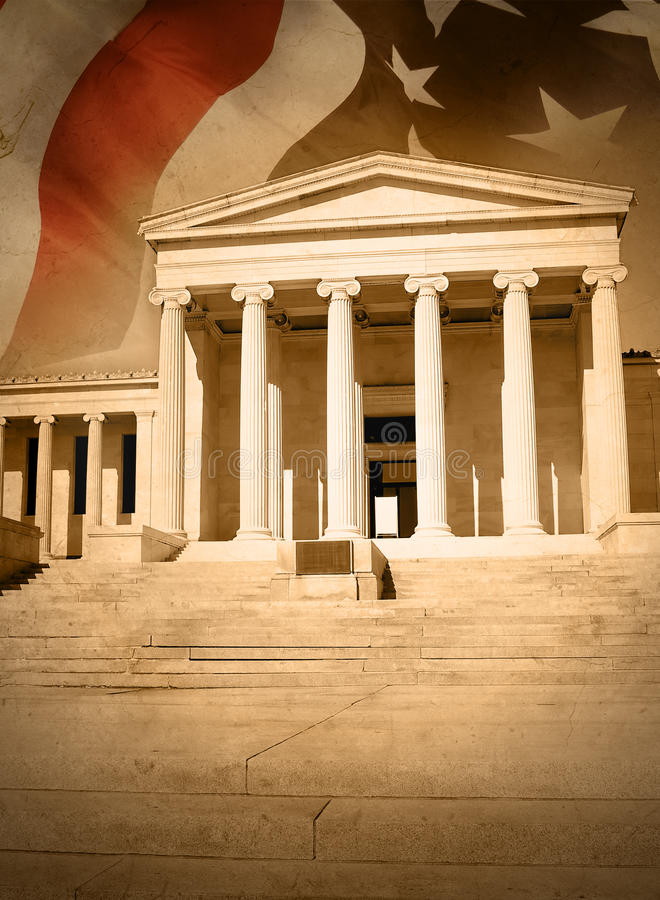 Stadt-Gerechtigkeit-Gesetz-Gericht mit Markierungsfahne lizenzfreie stockbilder