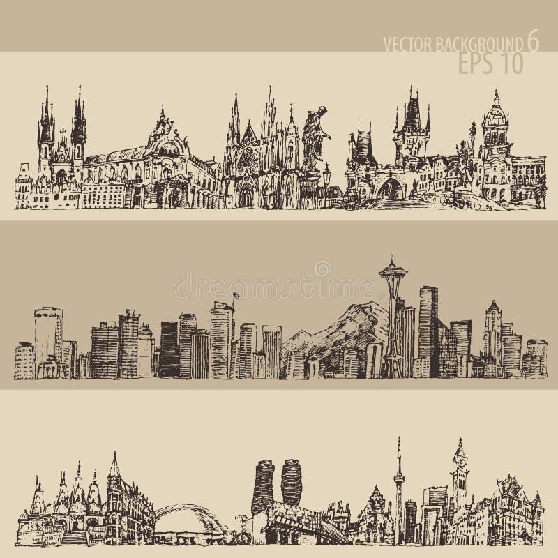 Stadt gesetztes Prag, Toronto, Seattle Weinlese graviert stock abbildung
