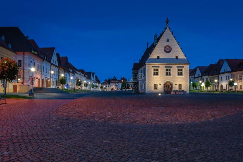 Stadt-Halle in Bardejov stockfotos