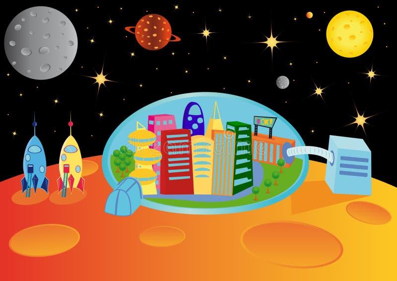 Stadt im Universum lizenzfreie abbildung