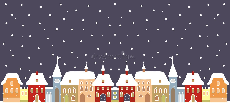 Stadt im Winter stock abbildung