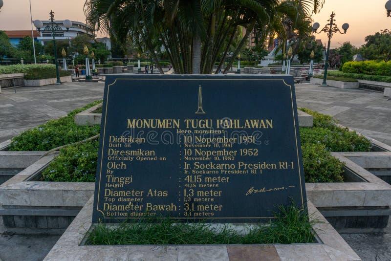 Stadt Indonesien Tugu Pahlawan Surabaya stockfotografie