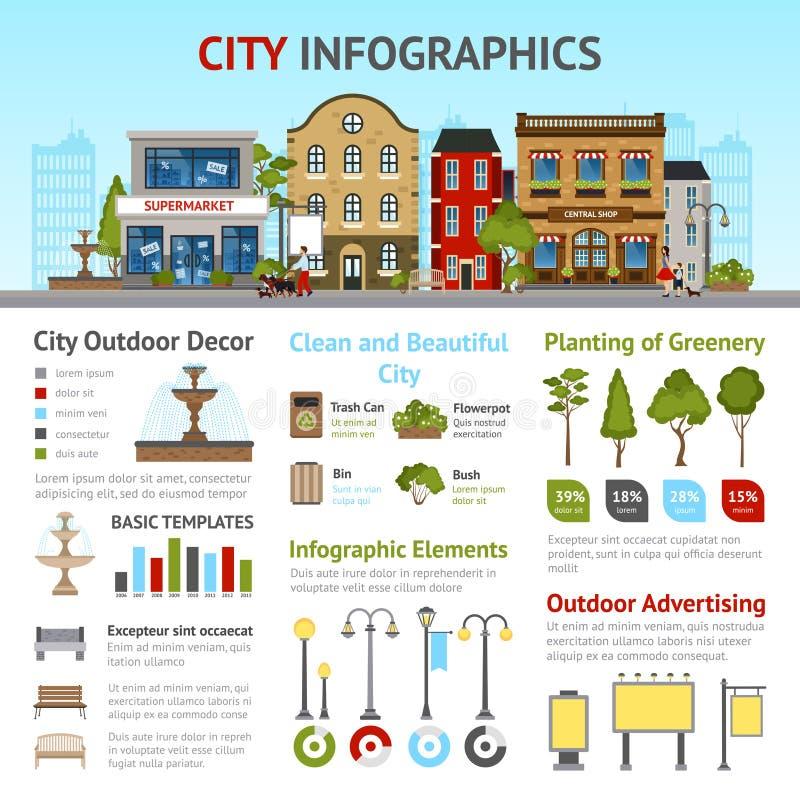 Stadt infographics Satz stock abbildung