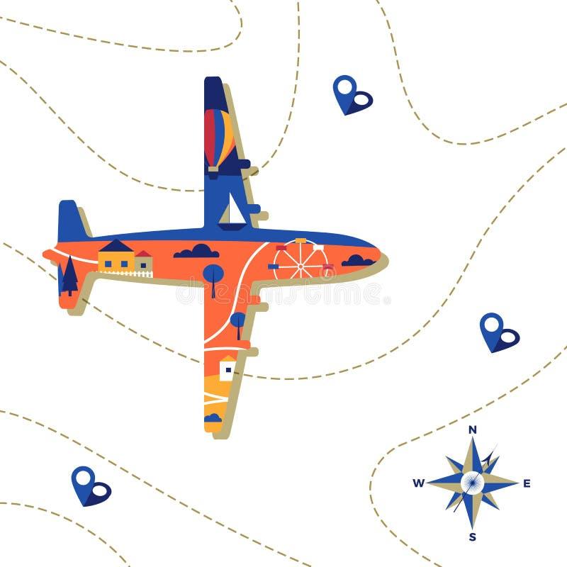 Stadt innerhalb des Flugzeug-Form-Fliegens über der Karte Koffer am Strand mit den Seesternen Reise-Illustration Tourismushinterg vektor abbildung