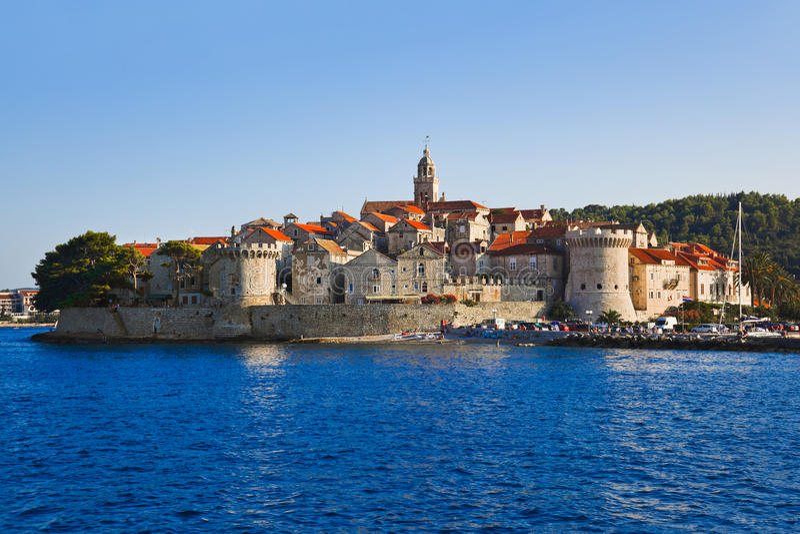 Stadt Korcula bei Kroatien stockfotografie