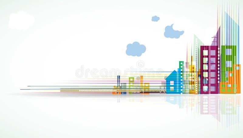 Stadt-Landschaftsgrundbesitz-Hintergrundfahne lizenzfreie abbildung