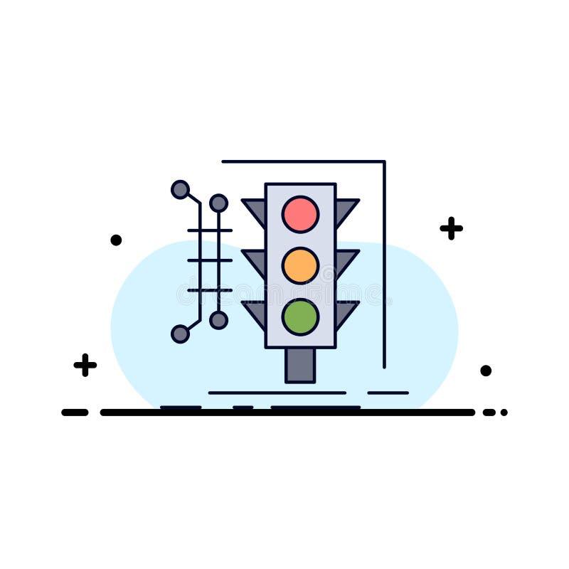 Stadt, Management, Überwachung, intelligent, Verkehr flacher Farbikonen-Vektor vektor abbildung