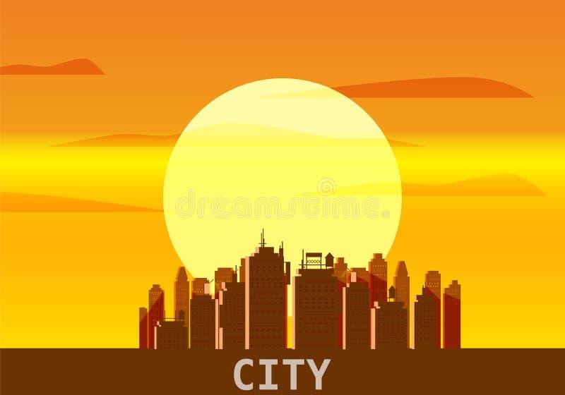 Stadt megapolis Sonnenuntergang, Stadtbild, Abend, Skyline, Schattenbilder von Wolkenkratzern Vektor, Illustration, lokalisiert stock abbildung
