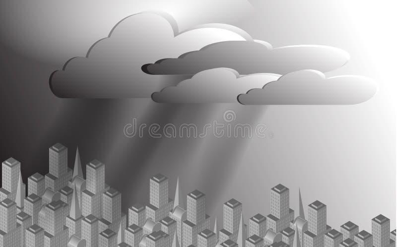 Stadt mit einem Regensturm obenliegend vektor abbildung