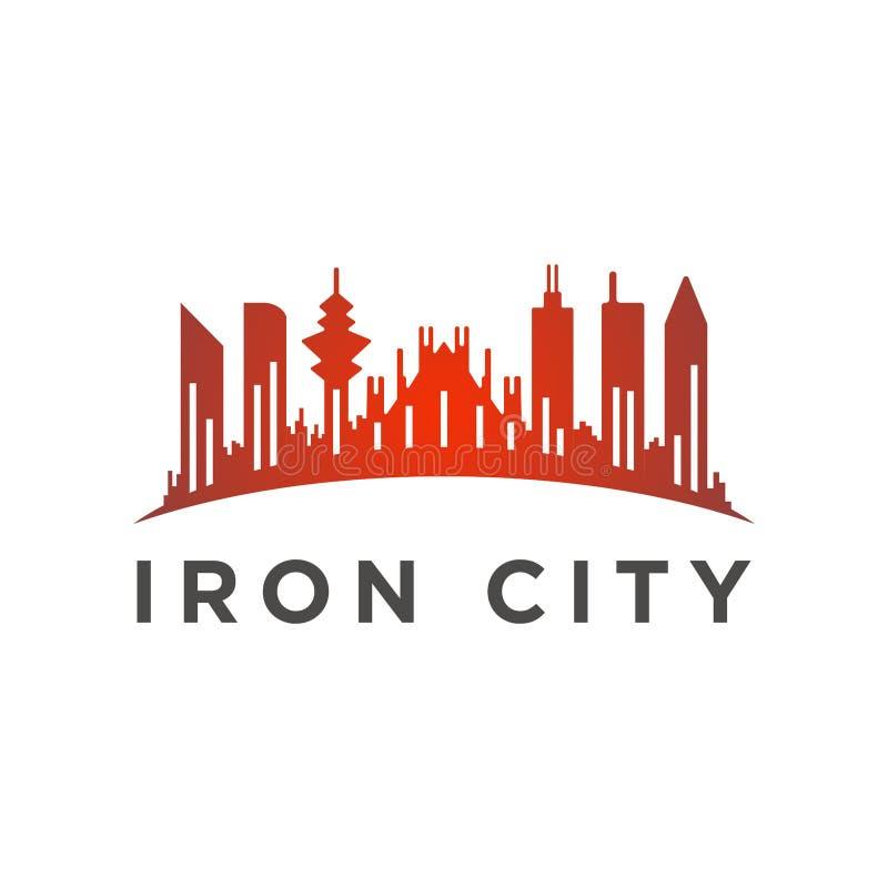 Stadt mit einer hohen Turmlogoschablone stock abbildung