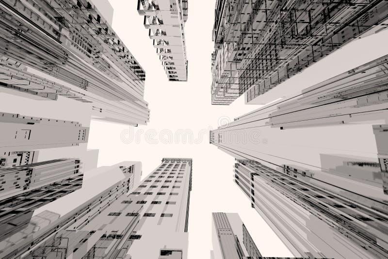 Stadt mit hohen Gebäuden lizenzfreie abbildung