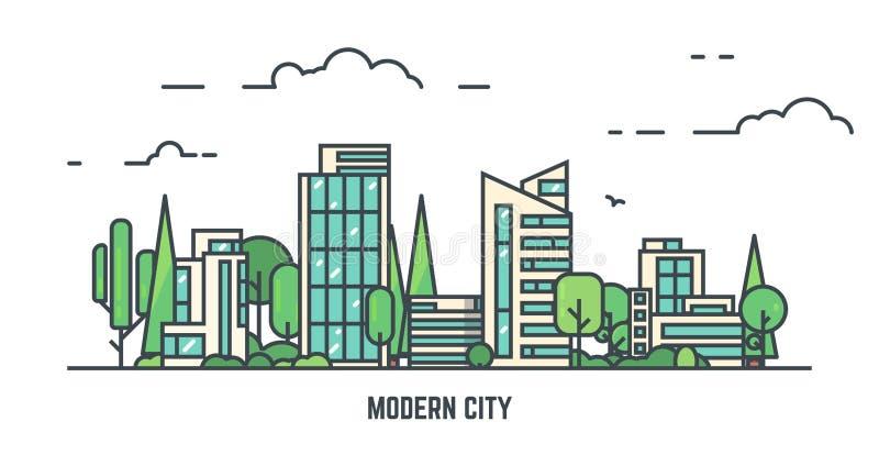 Stadt mit Park lizenzfreie abbildung