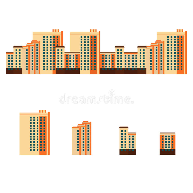 Stadt mit Wohngebäuden stock abbildung