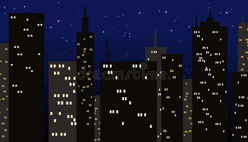 Stadt nachts stock abbildung