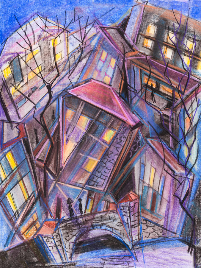 Stadt nachts vektor abbildung