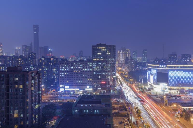 Stadt-Nachtszene Chinas, Peking, das höchste Gebäude stockbilder
