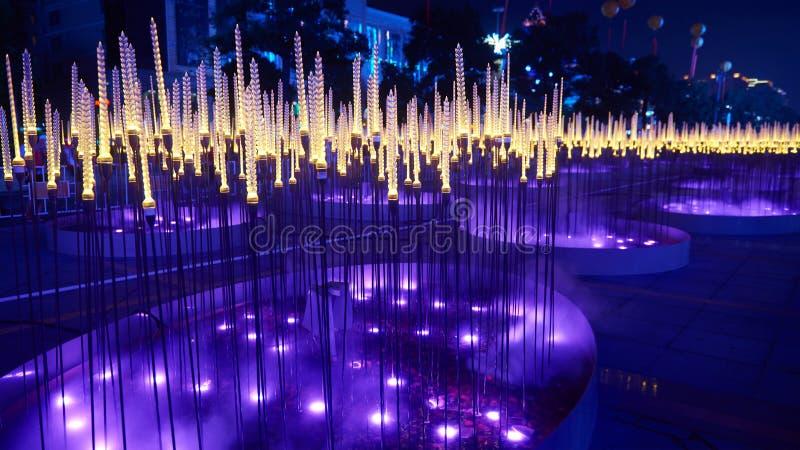 Stadt nightscape Weizen führte Beleuchtung lizenzfreies stockfoto