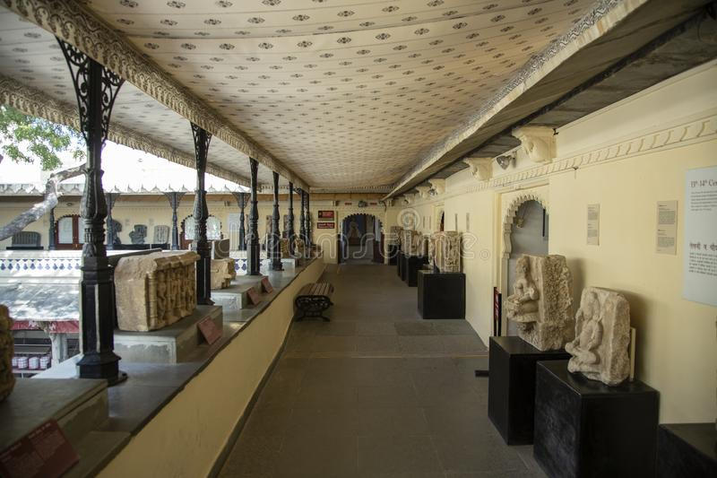 Stadt-Palast-Museums-Durchgang, Stadt-Palast, Udaipur, Rajasthan, Indien stockfotos