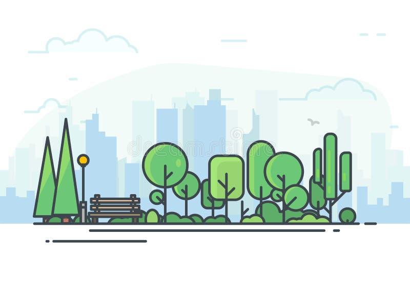 Stadt-Park mit Bank stock abbildung