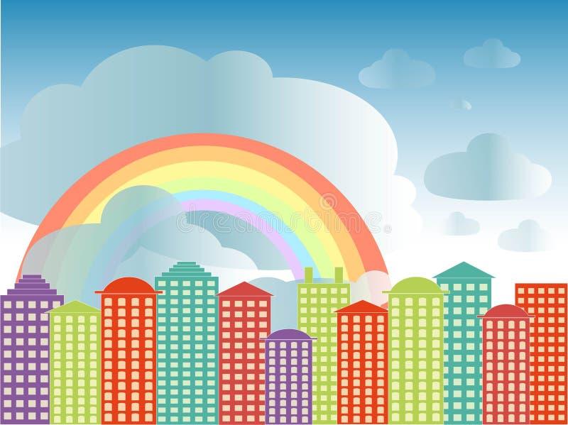 Stadt-Reihenhintergrund Bunte Gebäude, blauer bewölkter Himmel, Regenbogen, Vektor stock abbildung