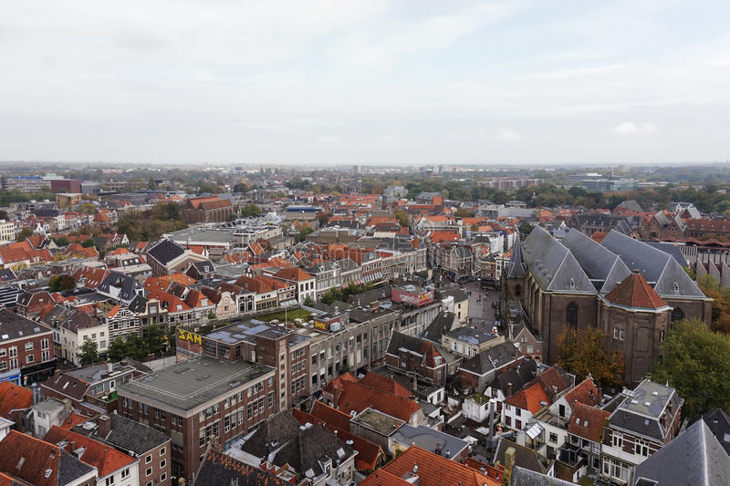 Stadt scape der historischen niederländischen Stadt von Zwolle stockfotos