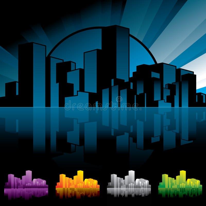 Stadt scape Nacht stock abbildung