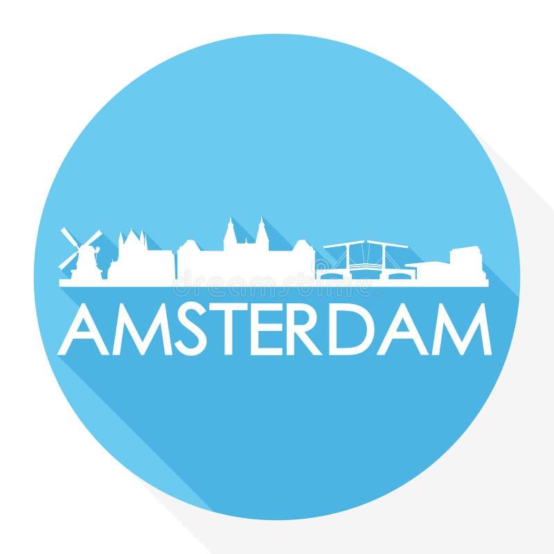 Stadt-Schattenbild-Schablonen-Logo Amsterdams Holland Netherlands Round Icon Vector Art Flat Shadow Design Skyline vektor abbildung