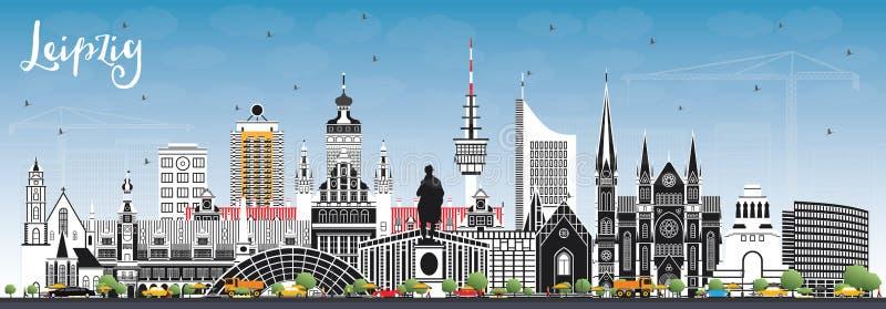Stadt-Skyline Leipzigs Deutschland mit Gray Buildings und blauem Himmel vektor abbildung