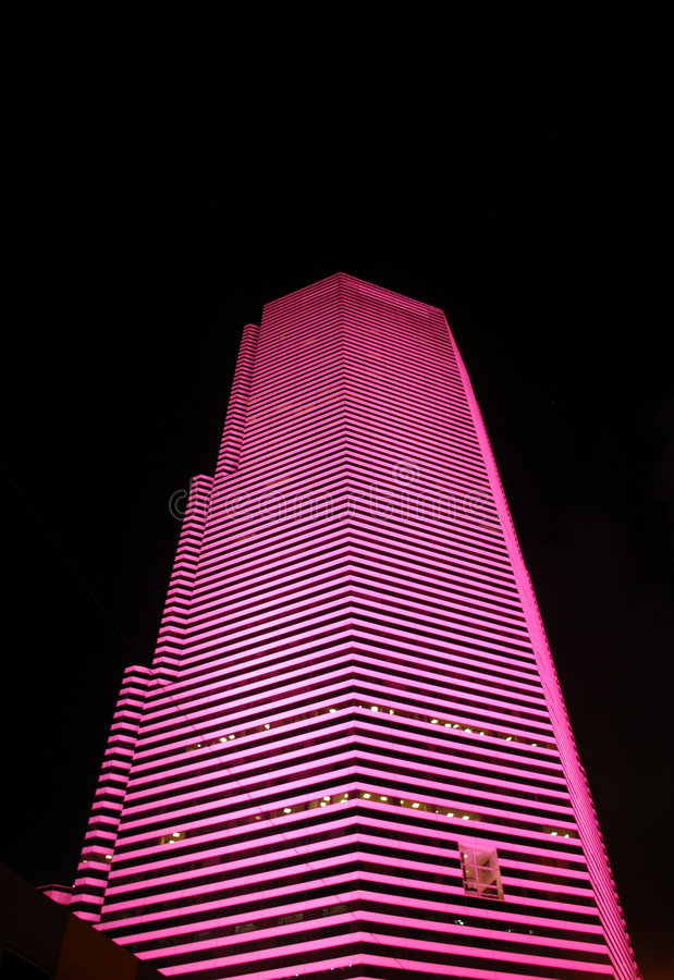 Stadt-Skyline in Miami nachts stockfotografie