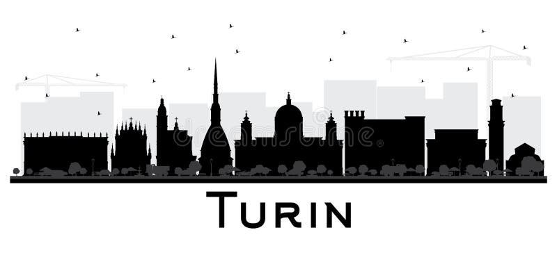 Stadt-Skyline-Schattenbild Turins Italien mit schwarzem Gebäude-Isolat lizenzfreie abbildung