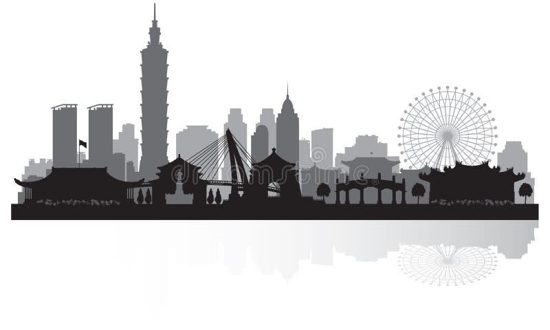 Stadt-Skylineschattenbild Taipehs Taiwan lizenzfreie abbildung