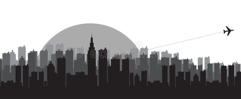 Stadt-Skylineschattenbilder lizenzfreie abbildung