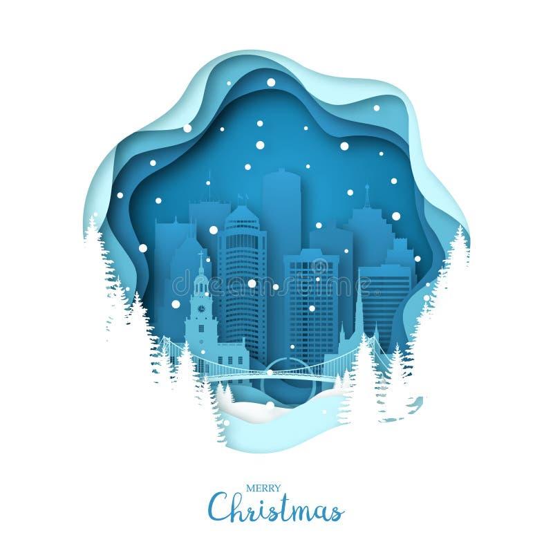 Stadt Snowy Detroit Papierkunst-Grußkarte der frohen Weihnachten lizenzfreie abbildung