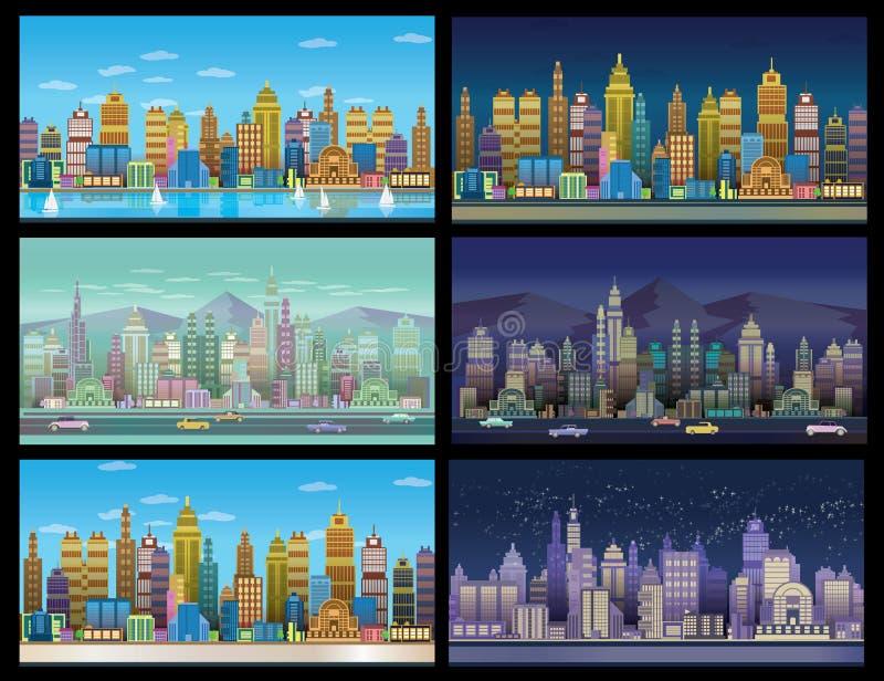 Stadt-Spiel-Hintergründe stellten, 2d Spielanwendung ein stock abbildung