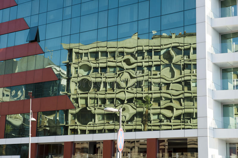 Stadt-städtischer abstrakter Hintergrund, Glasgebäude lizenzfreies stockbild