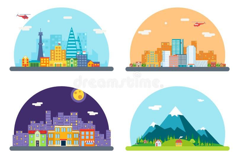 Stadt-Straßen-Landschafts-Real Estate-Wolkenkratzer-Skyline-Hintergrund-gesetzte flache Design-Vektor-Illustration lizenzfreie abbildung