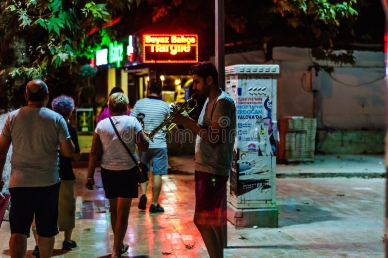 Stadt Straßen-Musiker-At Night Ins Cinarcik - die Türkei lizenzfreies stockfoto