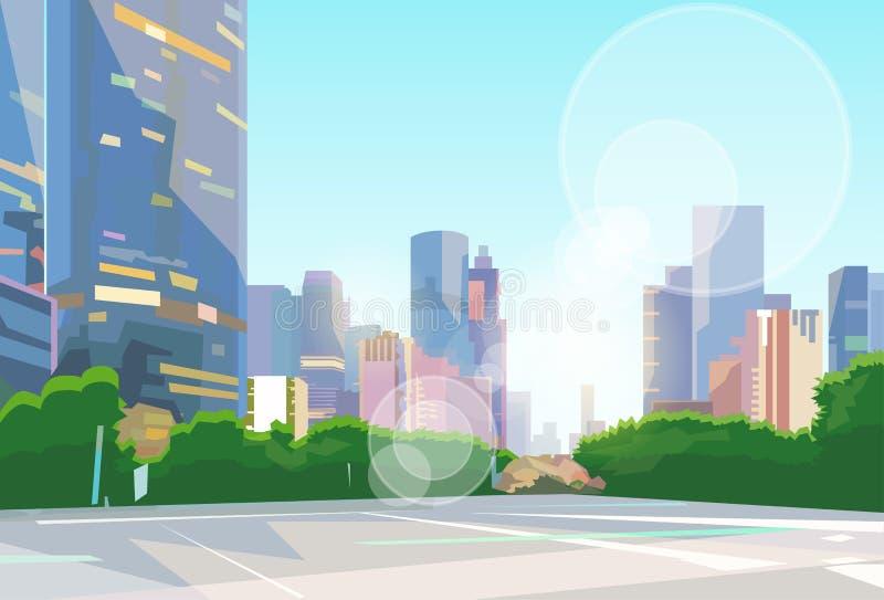 Stadt-Straßen-Wolkenkratzer-Ansicht-Stadtbild-Vektor stock abbildung