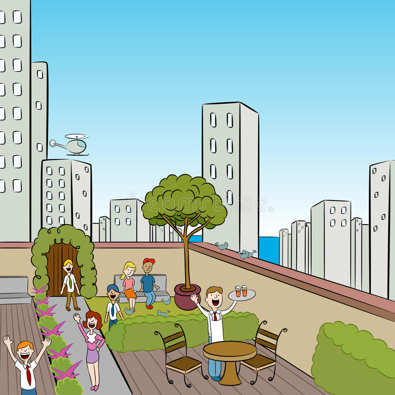 Stadt-Terrasse-Party lizenzfreie abbildung