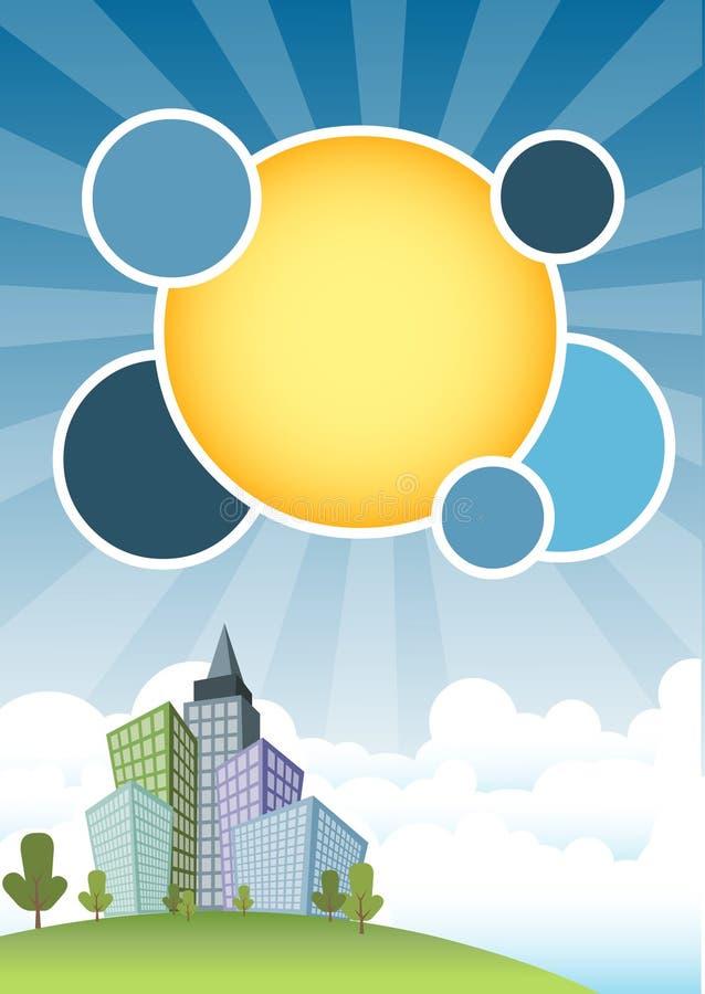 Stadt und blauer Himmel lizenzfreie abbildung