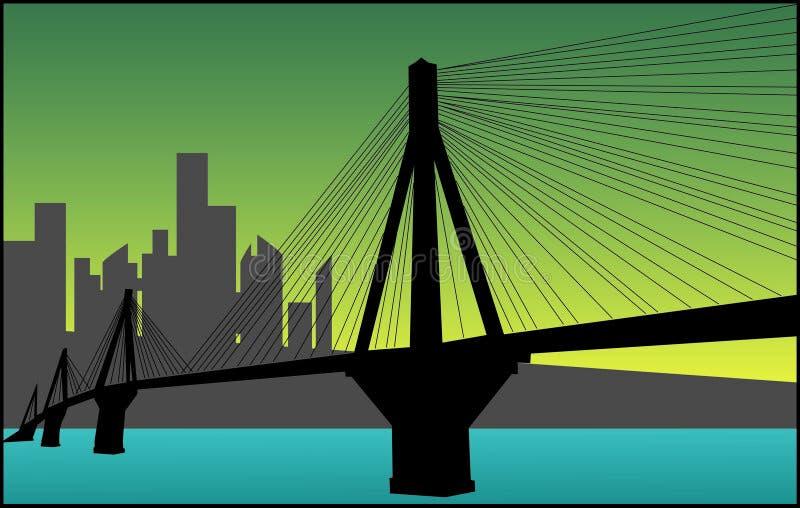 Stadt und eine Brücke stock abbildung