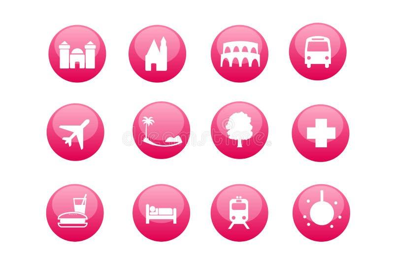 Stadt und touristische Kartenikonen stock abbildung