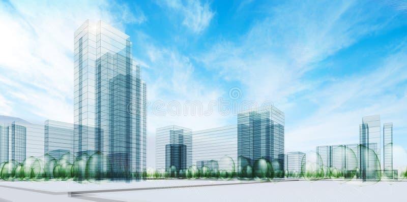 Stadt unter Himmel vektor abbildung