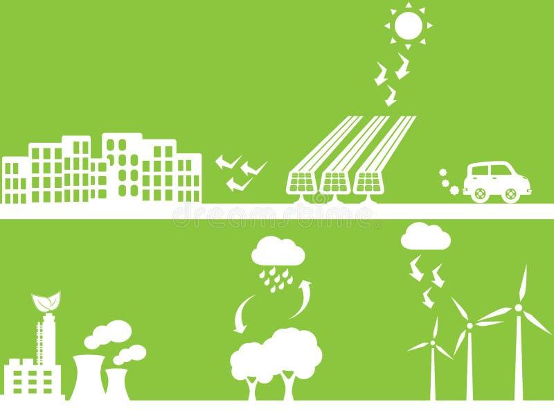 Stadt unter Verwendung der erneuerbaren Energie vektor abbildung