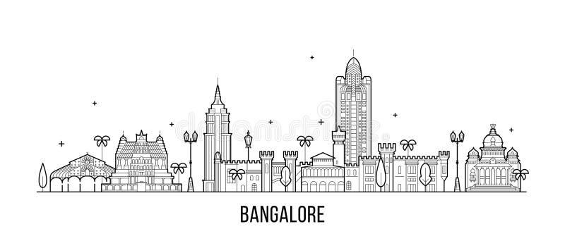 Stadt-Vektorlinie Bangalore-Skyline Karnatakas Indien lizenzfreie abbildung