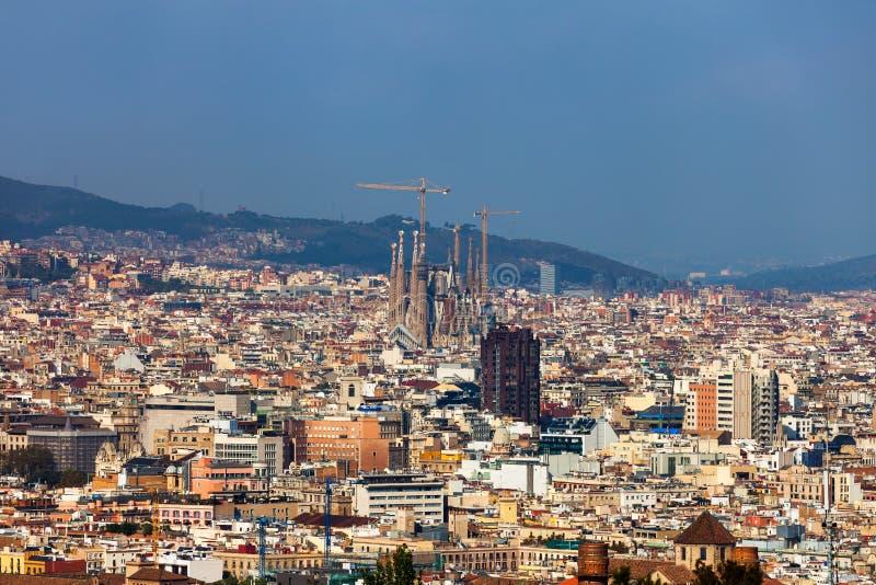 Stadt von Barcelona-Vogelperspektive-Stadtbild lizenzfreies stockfoto