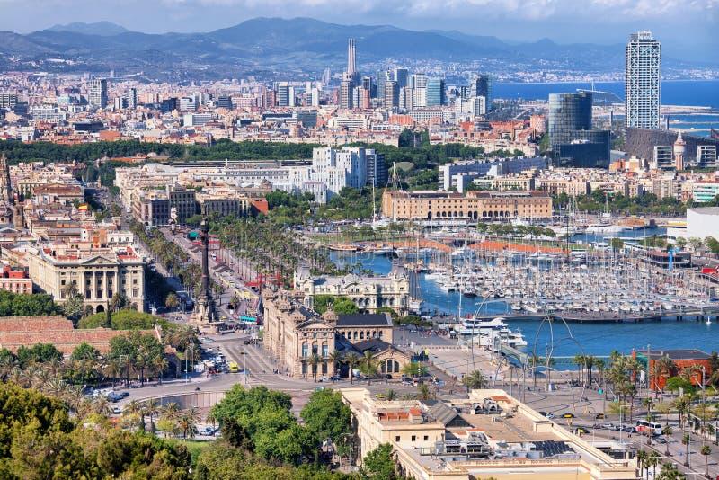 Stadt von Barcelona von oben lizenzfreie stockfotografie