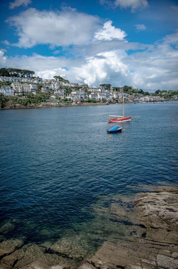 Stadt von Fowey auf dem Süden von Cornwall stockfoto
